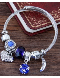 Fashion Sapphire Blue Heart Shape Decorated Bracelet