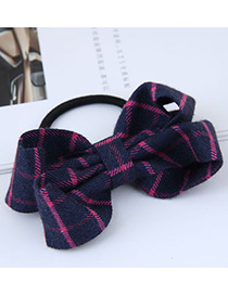 Fashion Navy Grid Pattern Decorated Bowknot Hair Band