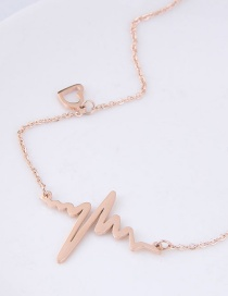 Fashion Rose Gold Wave Shape Decorated Necklace