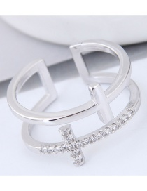 Fashion Silver Color Cross Shape Decorated Double Layer Opening Ring