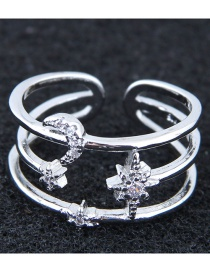 Fashion Silver Color Multi-layer Design Opening Ring