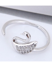 Fashion Silver Color Swan Shape Decorated Opening Ring