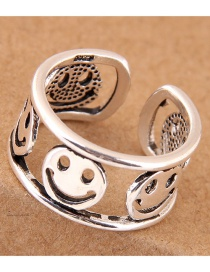 Vintage Silver Color Hollow Out Design Face Shape Opening Ring