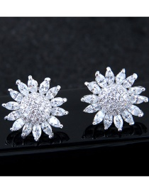 Fashion Silver Color Sunflower Shape Decorated Earrings