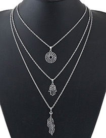 Fashion Silver Color Leaf&hand Shape Decorated Necklace