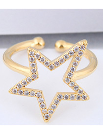 Elegant Gold Color Star Shape Design Pure Color Ring