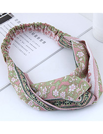 Sweet Green+pink Flowers Pattern Decorated Hair Band