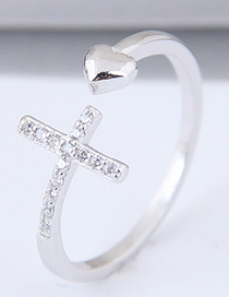 Sweet Silver Color Heart Shape Decorated Opening Ring