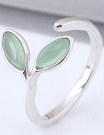 Sweet Green Leaf Shape Design Opening Ring