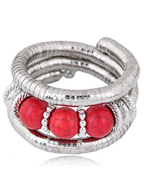 Fashion Red Round Shape Decorated Bracelet