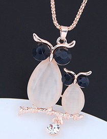 Fashion Rose Gold Waterdrop Shape Decorated Necklace