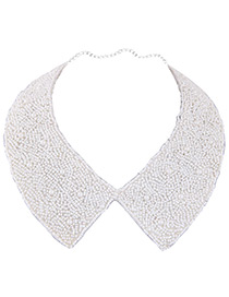 Simple White Bead Decorated Choker