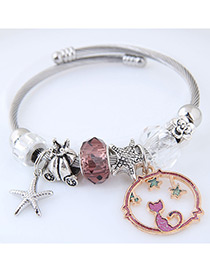 Elegant Purple Starfish&cat Pendant Decorated Bracelet
