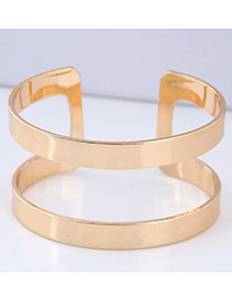 Elegant Gold Color Pure Color Design Opening Bracelet