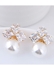 Elegant White Pearls&diamond Decorated Simple Earrings