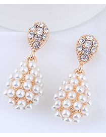 Elegant Gold Color Full Pearls Design Water Drop Shape Earrings