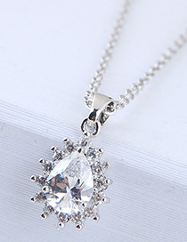Fashion Silver Color Waterdrop Shape Decorated Necklace