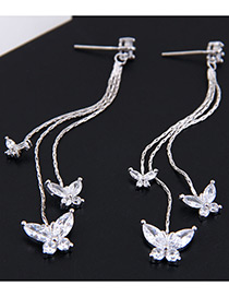 Fashion Silver Color Butterfly Shape Decorated Tassel Earrings