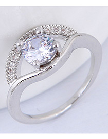 Simple Silver Color Diamond Decorated Pure Color Ring