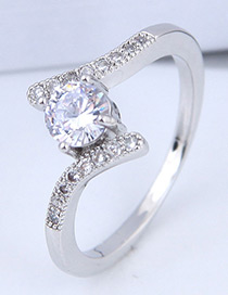 Elegant Silver Color Pure Color Decorated Ring