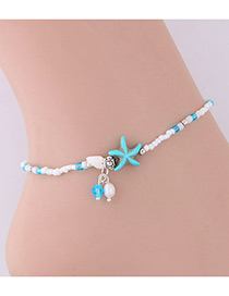 Elegant White+silver Color Starfish&seashell Decorated Anklte