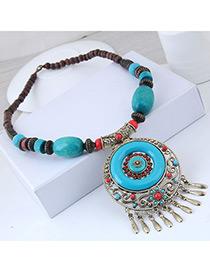 Fashion Blue Hollow Out Design Tassel Necklace