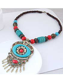 Fashion Blue Flower Shape Decorated Tassel Necklace