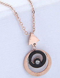 Fashion Rose Gold Triangle Shape Decorated Necklace