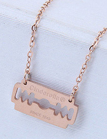 Fashion Rose Gold Blade Shape Decorated Necklace
