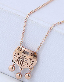Fashion Rose Gold Longevity Lock Shape Decorated Hollow Out Necklace