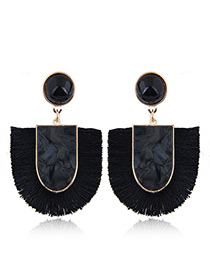 Elegant Black U Shape Design Tassel Earrings