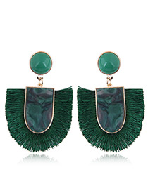 Elegant Green U Shape Design Tassel Earrings