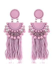 Fashion Pink Tassel Decorated Pure Color Earrings