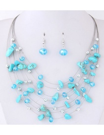 Fashoin Blue Bead Decorated Multi-layer Jewelry Set