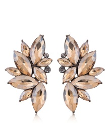 Fashion Champagne Full Diamond Decorated Earrings