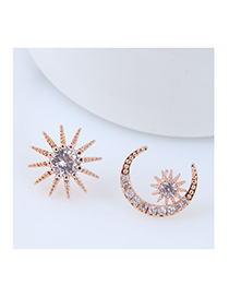 Fashion Rose Gold Moon&star Shape Decorated Earrings