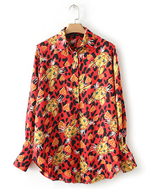 Fashion Red Leopard Pattern Decorated Shirt