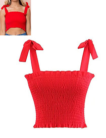 Fashion Red Pure Color Decorated Vest