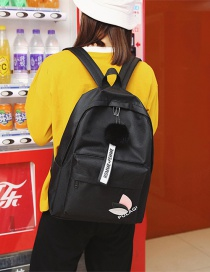 Fashion Black Pom Ball Decorated Backpack