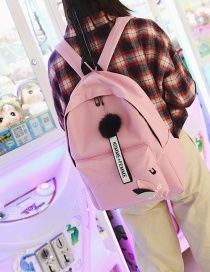 Fashion Pink Pom Ball Decorated Backpack