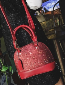 Fashion Red Pure Color Decorated Shoulder Bag