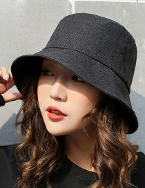 Trendy Black Pure Color Decorated Fishman Sunshade Hat