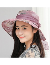 Trendy Purple Bowknot Design Foldable Sunshade Hat