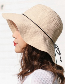 Trendy Beige Pure Color Design Foldable Sunshade Hat