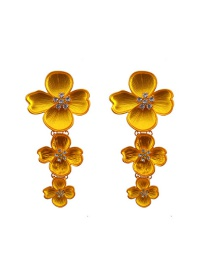 Fashion Yellow Flowers Decorated Pure Color Earrings