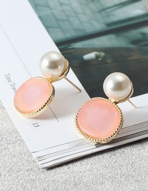 Fashion Pink Pearls&diamond Decorated Earrings