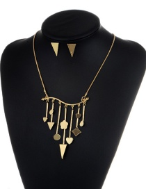 Fashion Gold Color Triangle Shape Decorated Jewelry Set