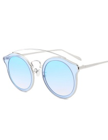 Fashion Blue Round Shape Decorated Sunglasses
