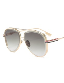 Fashion Gold Color Stripe Pattern Decorated Sunglasses
