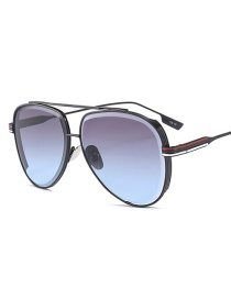 Fashion Gray Stripe Pattern Decorated Sunglasses